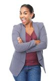 Portrait of a cheerful young woman laughing Stock Image