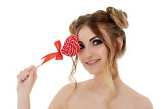 Young woman with lollipop. Stock Photo