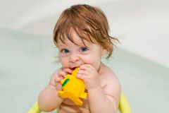 Portrait of cheery cute baby girl in a bath Stock Image