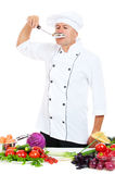 Portrait of chef with big spoon Royalty Free Stock Photos