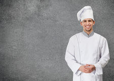 Portrait of chef cook, isolated on grey. Portrait of smiling chef cook, isolated on grey background. Concept of restaurant business and tasty food stock photos