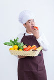 Portrait of a chef holding fruit and vegetable Stock Photos
