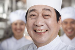 Portrait of a Chef in an Industrial Kitchen Stock Image