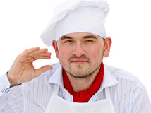 Portrait of chef with red pepper Royalty Free Stock Photo