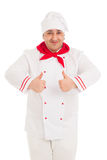 Portrait Of Chef Showing Thumb Up Sign with both hands Royalty Free Stock Photos