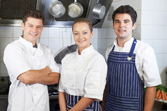 Portrait Of Chef And Staff Standing By Cooker In Kitchen Royalty Free Stock Photo
