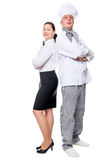 Portrait of a chef and a waiter on a white background Royalty Free Stock Photos