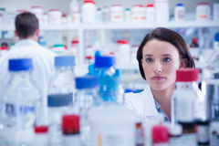 Portrait of a chemist behind medical sample Stock Images