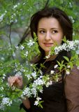 Portrait in a cherry garden Stock Image