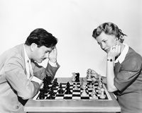 Portrait of chess players Royalty Free Stock Images