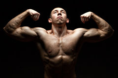 Portrait chested male bodybuilder. Royalty Free Stock Photo