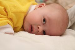 Portrait of the child. Lying on a stomach royalty free stock photo