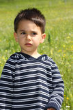 Portrait of a child. Portrait of a male child in the green field Stock Photo
