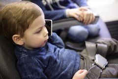 Child in aircraft Stock Image