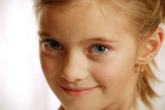 Portrait of child, amicable sight stock image