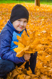 Portrait of a child with autumn leaves in hand Stock Photo