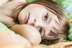 Portrait of a child awakened. Stock Photo