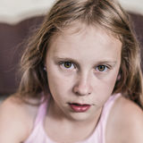 Portrait of a child awakened. Stock Photos