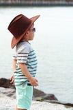 Portrait of Child On Beach, Asian Kid Stock Photos