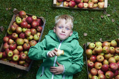 Portrait of Child blond boy lying on the green grass background with pile of apples, holding and eating apple Royalty Free Stock Photos