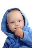 Portrait of a child in blue bathrobe Royalty Free Stock Photos