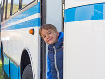 Portrait of a child in the bus Royalty Free Stock Photos