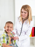 Portrait of a child in doctor's office Stock Images