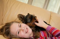 Portrait of child with dog Stock Image