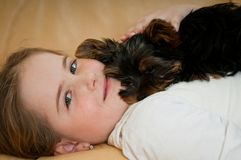 Portrait of child with dog Royalty Free Stock Photo