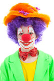 Portrait of child dressed as colorful funny clown Stock Image