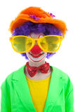 Portrait of child dressed as colorful funny clown Stock Photos
