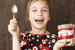 Child eating dessert Royalty Free Stock Images