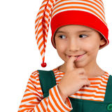 Portrait of a child in an elf suit Royalty Free Stock Images