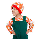 Portrait of a child in an elf suit Royalty Free Stock Image