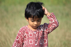 Portrait of a child. A child is in the field Royalty Free Stock Photography