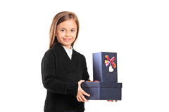Portrait of a child with a gift Stock Image