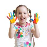 Portrait of child girl with painted hands Royalty Free Stock Image