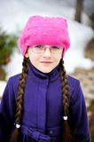 Portrait of child girl with pigtail in pink barret Royalty Free Stock Photography