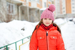 Portrait of child girl in winter clothes Royalty Free Stock Photos