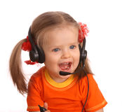 Portrait of child with headset. Stock Image