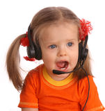 Portrait of child with headset. Royalty Free Stock Images