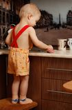Portrait of a child holding  cup at the kitchen. Portrait of a child holding a cup at the kitchen at home Stock Photo