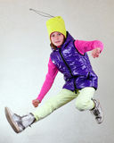 Portrait of child  jumping and dancing Royalty Free Stock Image