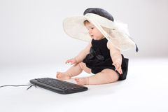 Portrait child with keyboard Stock Photos