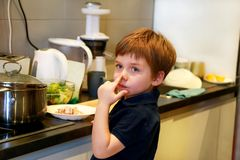 Portrait of child in kitchen. Cute little boy, playing in kitchen. Young kid is hungry, looks at and checks is it finished lunch. stock images