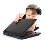Portrait child with laptop Royalty Free Stock Photo