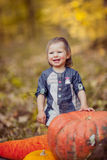 Portrait of a child with pumpkins, laughing, smiling. Stock Photo