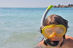 Portrait of a child and snorkeling Stock Photo