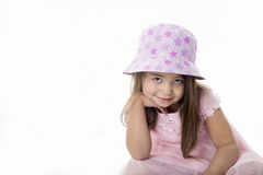 Portrait child in studio. On a white background Stock Images