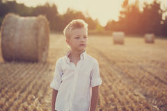 Portrait of a child  in the sunny day in a field Stock Photos